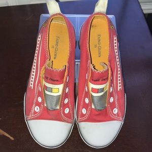 Adorable fire truck canvas slip ons